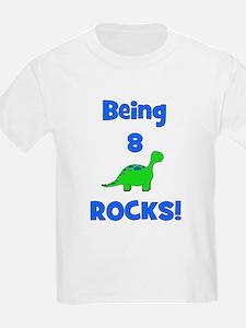Being 8 Rocks! Dinosaur Kids T-Shirt