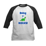 Being 7 Rocks! Dinosaur Kids Baseball Jersey