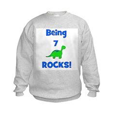 Being 7 Rocks! Dinosaur Sweatshirt