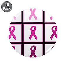 "pink ribbon quadd 3.5"" Button (10 pack)"