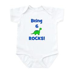 Being 6 Rocks! Dinosaur Infant Bodysuit