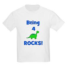Being 4 Rocks! Dinosaur Kids T-Shirt