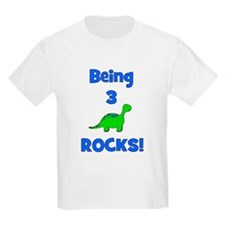 Being 3 Rocks! Dinosaur Kids T-Shirt