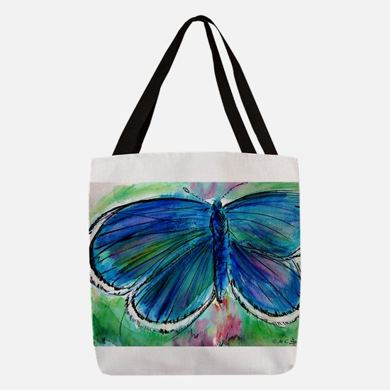 Blue Butterfly! Nature art! Polyester Tote Bag