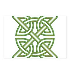 Celtic knot square orange and green Postcards (Pac