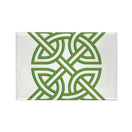 Celtic knot square orange and green Rectangle Magn by ...