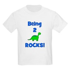 Being 2 Rocks! Dinosaur Kids T-Shirt