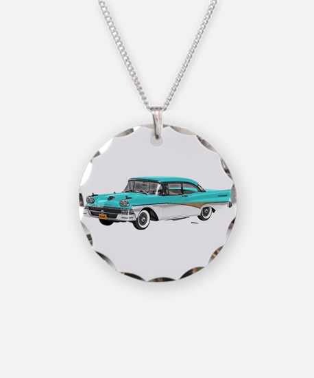 1958 Ford Fairlane 500 Light Blue & White Necklace