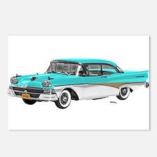 1958 Ford Fairlane 500 Light Blue & White Postcard