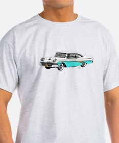 1958 Ford Fairlane 500 White & Light Blue T-Shirt