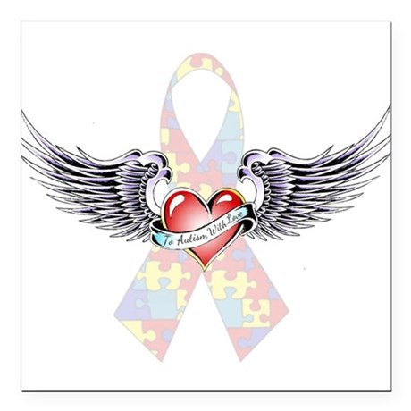 Autism Awareness Ribbon with Heart and wings Squar