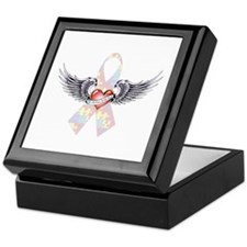 Autism Awareness Ribbon with Heart and wings Keeps