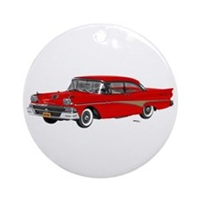1958 Ford Fairlane 500 Red Ornament (Round)