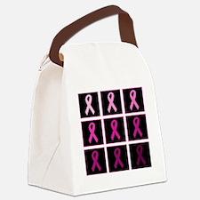 pink ribbon quadddd Canvas Lunch Bag