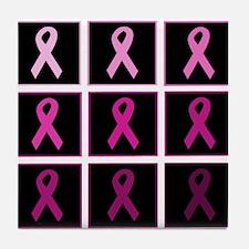 pink ribbon quadddd Tile Coaster