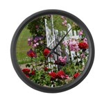 Gated Rose Garden Large Wall Clock