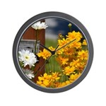 Yellow Wild Flowers Wall Clock