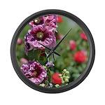 Hollyhock Flower Garden Large Wall Clock