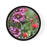 Hollyhock Flower Garden Wall Clock