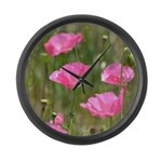 Pink Poppies Large Wall Clock