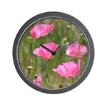 Pink Poppies Wall Clock
