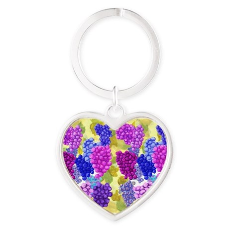 grapes with grape leaves vineyard Heart Keychain