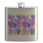 grapes with grape leaves vineyard Flask