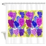 grapes with grape leaves vineyard Shower Curtain