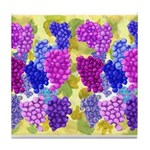 grapes with grape leaves vineyard Tile Coaster