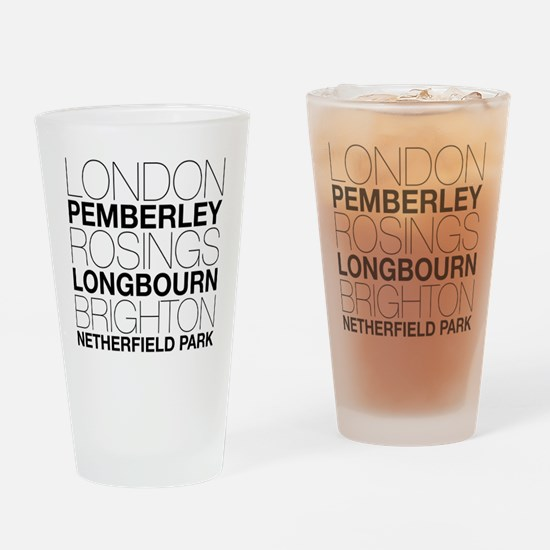 Pride and Prejudice Locations Drinking Glass