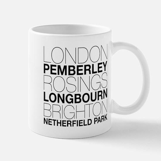 Pride and Prejudice Locations Small Mug
