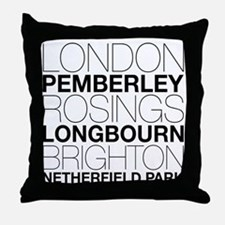 Pride and Prejudice Locations Throw Pillow