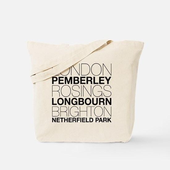 Pride and Prejudice Locations Tote Bag