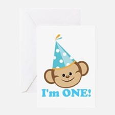 First Birthday Monkey Greeting Card
