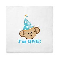 First Birthday Monkey Queen Duvet