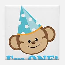 First Birthday Monkey Tile Coaster