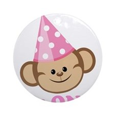 First Birthday Monkey Pink Ornament (Round)