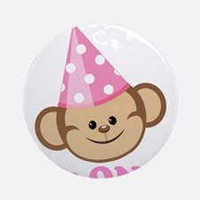First Birthday Monkey Pink Ornament (Round)