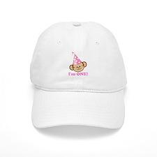 First Birthday Monkey Pink Baseball Baseball Cap