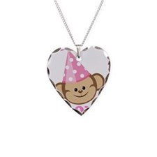 First Birthday Monkey Pink Necklace