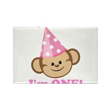 First Birthday Monkey Pink Rectangle Magnet