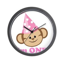 First Birthday Monkey Pink Wall Clock