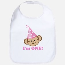 First Birthday Monkey Pink Bib