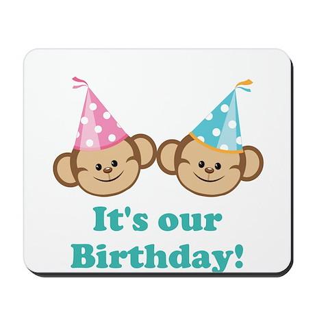 Twins Birthday Monkeys Mousepad