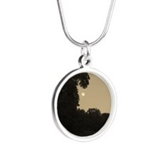 Dragon Tree and The Moon Silver Round Necklace