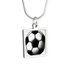 soccer ball 2 Silver Square Necklace