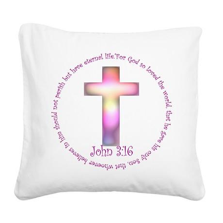 John 3:16 Square Canvas Pillow