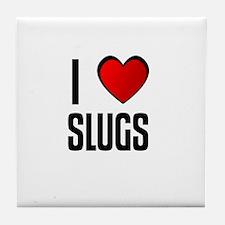 Cute I heart slugs Tile Coaster