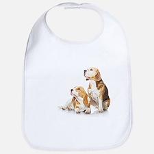 Bib - Two beagle dogs isolated on white background