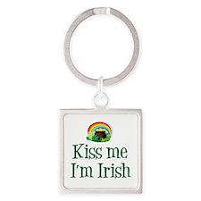 Kiss Me I'm Irish Square Keychain